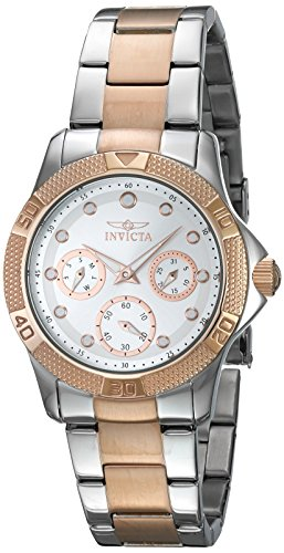 Invicta 21762 Lady's Silver Dial Two Tone Rose Gold Steel Watch