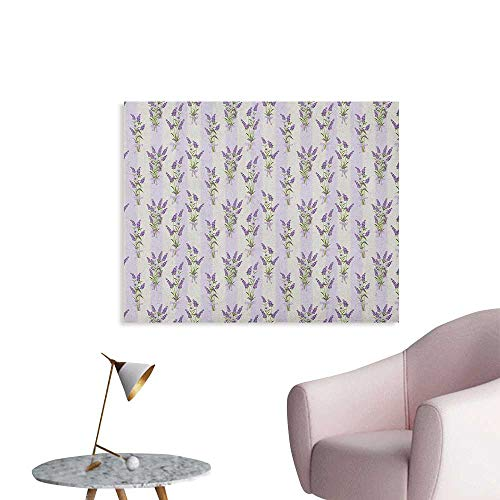 Anzhutwelve Lavender Wall Paper Stripes and Flowers with Ribbons Romantic Country Spring Season Inspired Design Art Wall Poster Purple W28 xL20 (Ribbon Stripe Wallpaper)