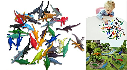 Collectable Vinyl Mini Dinosaur Set of 72 - Assorted Novelty Mini Prehistoric Animal Figurines | Party Favor Variety Pack 72 Count of Small Dinosaurs for Kids Birthday Parties and Festivities (Vinyl Dinosaurs)