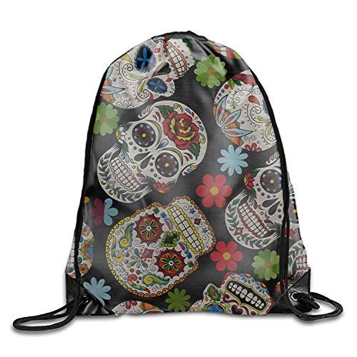 Drawstring Gym Sport Bag Sugar Skull & Flowers Eye-catching Color -