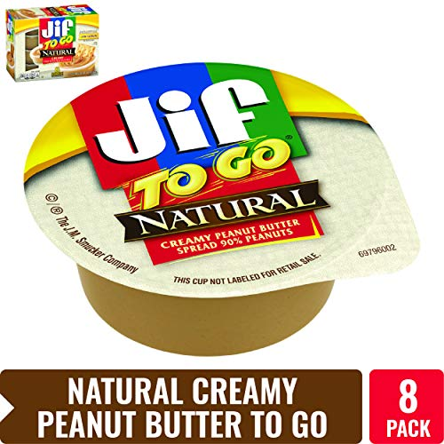Jif To Go Natural Creamy Peanut Butter, 1.5 oz., 8 Total Cups - Convenient On the Go Pack, 7g (7% DV) of Protein per Serving, Smooth, Creamy Texture - No Stir Natural Peanut Butter ()