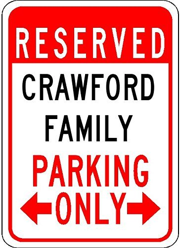 - Metal Signs Crawford Family Parking - Customized Last Name - 8