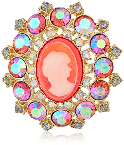 Pink Cameo Pin - Betsey Johnson Womens Granny Chic Bright Pink Cameo Brooches and Pin, One Size