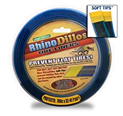 """Install a pair of Rhinodillos between your tire and tube to prevent flat tires. Each roll of 26x2"""" liners weigh 95g. That's 10% lighter than a regular brown Mr. Tuffy. The most important: New formula to create a super tough silver layer that ..."""