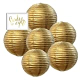 50 rice lights - Andaz Press Hanging Paper Lantern Party Decor Kit with Free Party Sign, Gold, 6-Pack Wedding 25th 50th Anniversary Graduation