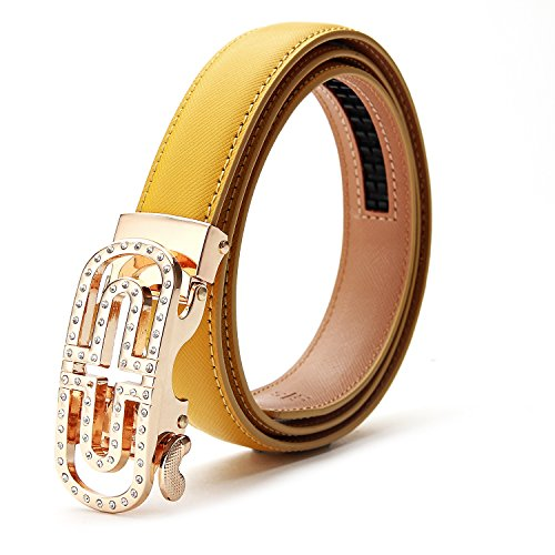 XIANGUO Women's Belt Genuine Leather Dress Belts with Automatic Buckle (YELLOW)