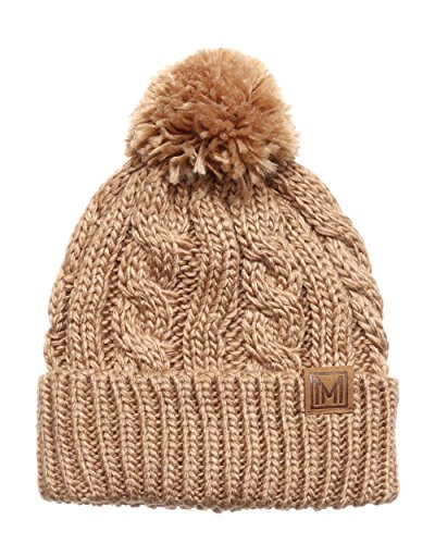 Knitted Beanie Hat Pattern (MIRMARU Winter Oversized Solid Color Cable Knitted Pom Pom Beanie Hat with Fleece Lining.(Khaki))