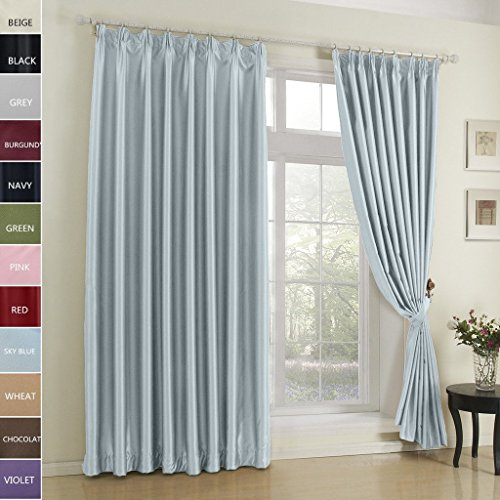 Cottontree Homesoft Blackout Curtain For Bedroom- Pinch Pleat Window Treatment Thermal Insulated Drapes For Traverse Rod and Track,84 Inch Wide By 84 Inch Long,Sky Blue(One (Blue Pleated Drapes)