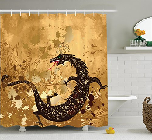 Asian Curtain (Dragon Decor Shower Curtain By Ambesonne, Brown Reptile Dragon On Grunge Background Floral Ornate Ancient Asian Art Retro Style Image, Fabric Bathroom Set with Hooks, 69 W X 70 L Inches, Sand Brown)