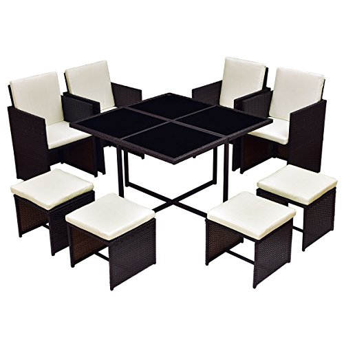- TANGKULA Patio Furniture Outdoor Wicker Rattan Dining Set Cushioned Seat Garden Sectional Conversation Sofa with Glass Top Coffee Table (9pcs brown)