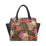 Sugar Skull Dia De Los Muertos Women's Rivet PU leather Shoulder Bag Handbag
