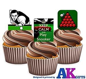 12x Snooker Tisch Keep Calm and Play Snooker mix- 12Esspapier Kuchen...
