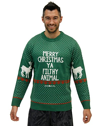 Price comparison product image Home Alone Merry Christmas Ya Filthy Animal Green Ugly Christmas Sweater (Adult Medium)