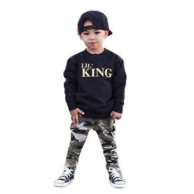 """5b20cf52c3ae6 Sagton """"Lil' King"""" Kids Toddler Baby Boy Clothes Set Long Sleeve T"""