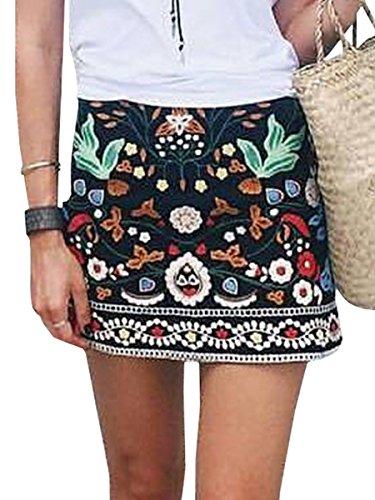 Simplee Apparel La mujer es una linea de cintura alta de gamuza bordado falda bodycon mini short Negro
