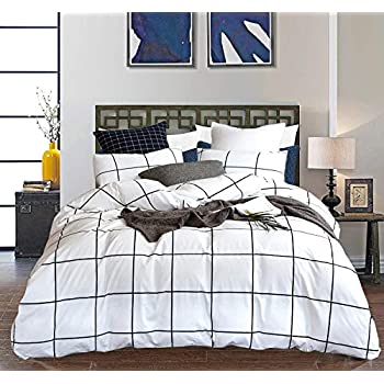 CLOTHKNOW White Grid Duvet Covers Cotton Queen Buffalo Gingham Plaid Full Bedding Sets Checkered Geometric Bedding Duvet Cover Sets (3 Pcs, White)