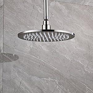 Rozin LED Light 10-inch Round Shower Head Top Rainfall Spray Brushed Nickel