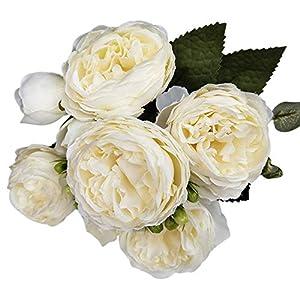 Sizet 5PCS Artificial Rose Bouquet with Leaf for Home, Desk, Venue, Wedding Decoration Everlasting Rose Fake Flower (Without Basket) 116
