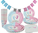 Gender Reveal Party Supplies Decorations Pink Girl Blue Boy 141 Piece (Serves 20) Party Set Plates Cups Napkins and Banner Baby