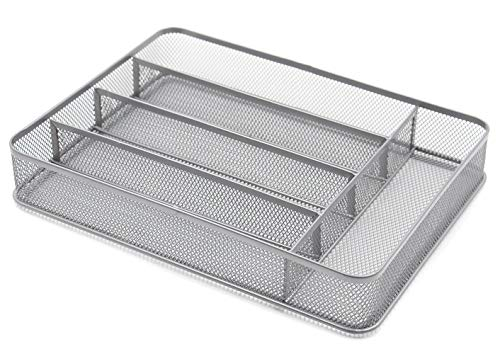 TQVAI 5 Compartment Mesh Kitchen Cutlery Trays Silverware Storage Kitchen Utensil Flatware Tray, Silver