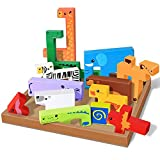 Animal 3D Wood Puzzle Set for Kids by Gamie (13-Piece) | Interactive Wooden Building Blocks for Toddlers | Fun Children's Educational Learning Toy | Great Educational Gift Idea for Boys and Girls