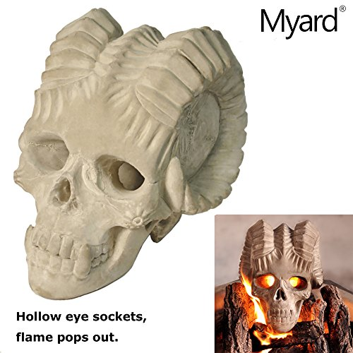 Myard Fireproof Demon Fire Pit Skull (Hollow, Flame from Eye Holes) Gas Log for Fireplace, Firepit, Camp Fire, Halloween Decor (Qty 1, Gray)