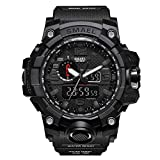 HenMerry Men's Sports Watch Outdoor 50M Waterproof Watch Double Electronic Quartz Movement Backlit Army (Black)