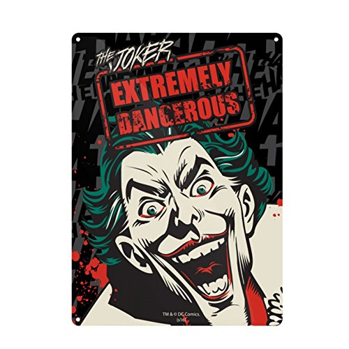(Genuine DC Comics Batman The Joker Extremely Dangerous A5 Steel Sign Tin Wall Door Plaque)