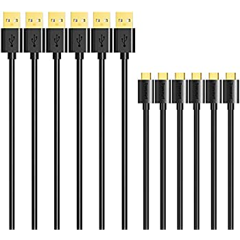 Micro USB Cable, Tronsmart [6 Pack] 20AWG Durable Charging Cable for Nexus, LG, Motorola, Android Smartphones (Black, 1ft x 1,3.3ft x 2,6ft x 3)