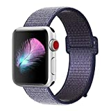 HILIMNY Compatible for Apple Watch Band 42mm, New Nylon Sport Loop, with Hook and Loop Fastener, Adjustable Closure Wrist Strap, Replacement Band Compatible for iwatch, 42mm, Midnight Blue