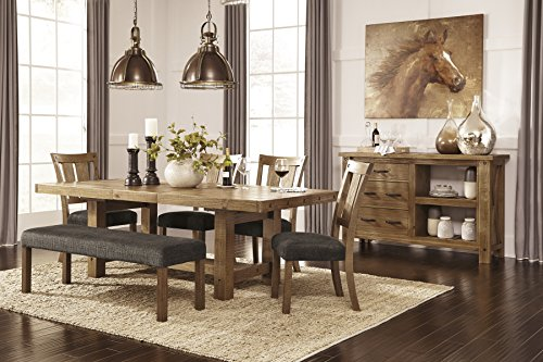 Tarmilr Casual Brown Color Rectangular Dining Room Set, Table, 4 Chairs, Bench And Server