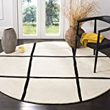 Safavieh CHT720A Chatham Collection Wool Round Handmade Area Rug, 7-Feet Diameter, Ivory and Black Picture