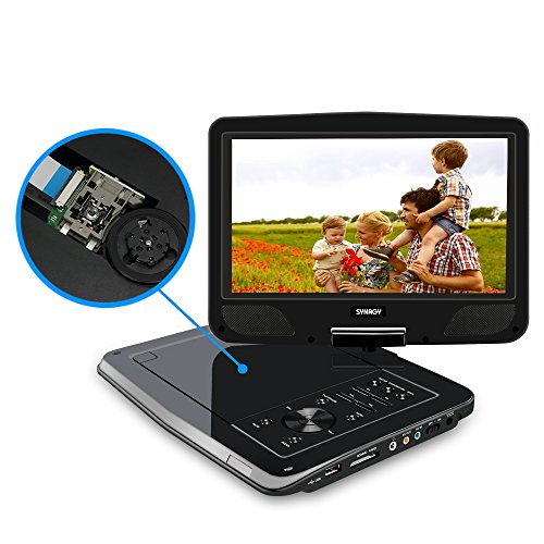 SYNAGY 10.1'' Portable DVD Player CD Player with Car Headrest Holder, Swivel Screen Remote Control Rechargeable Battery Car Charger Wall Charger, Personal DVD Player by SYNAGY