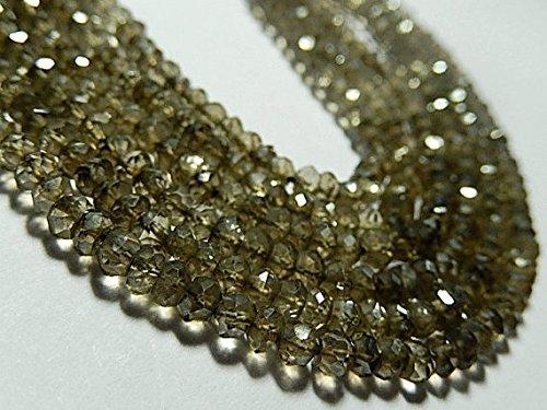 (Smokey Quartz Gemstone, Semi Precious Gemstone Bead. Natural Gemstone. AB, Faceted Rondelle Gemstone. 4mm.13