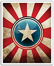 JP London POS2423 uStrip Peel and Stick Removable Wall Decal Sticker Mural Captain America Shield Superhero Avengers, 19.75-Inch by 24-Inch