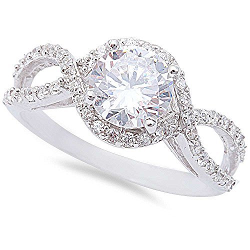 1.50CT Halo Round Cubic Zirconia Solitaire Engagement .925 Sterling Silver Ring Size 7