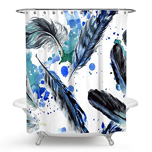 QCWN Feather Shower Curtain, Vaned Types and Natal Contour Flight Feathers Animal Skin Element Oil Painting Design Print Fabric Bathroom Decor Set with Hooks.Multi 70x70Inch