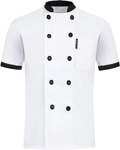 Freahap Cocina Chaqueta de Cocinero Unisex, Uniforme de Trabajo para Chef Camisa Camiseta de Chef de Manga Corta para Verano Diseño Clástico para Restaurante: Amazon.es: Ropa y accesorios