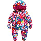JiAmy Baby Girls Winter Hooded Romper Floral Snowsuit with Gloves Booties Cotton Outfits 12-18 Months