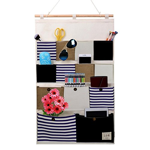 Wall Door Closet Hanging Storage Bag Linen/Cotton Fabric 13 Pockets Home Organizer,Hanging Shelves Blue Stripe for Room