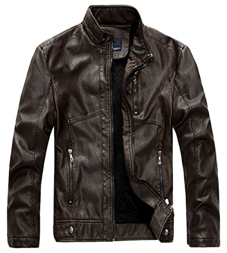 chouyatou Men's Vintage Stand Collar Pu Leather Jacket (X-Large, RZQM888-Coffee)