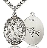 Men's Sterling Silver Saint Joseph of Cupertino Oval Medal + 24 Inch Sterling Silver Chain & Clasp