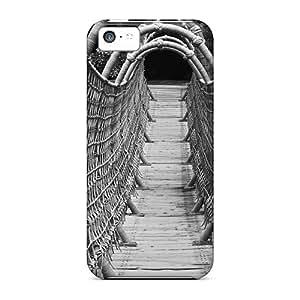 Iphone 5c Hard Back With Bumper Silicone Gel Tpu Case Cover Wonderful Wood Rope Bridge