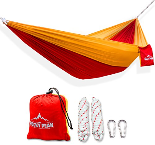 The Rocky Peak BEST Ultralight Single Person Parachute Hammock for Camping, Hiking, Backpacking, Beach, or Travel - High Strength Portable Design - Rocky Sunglasses