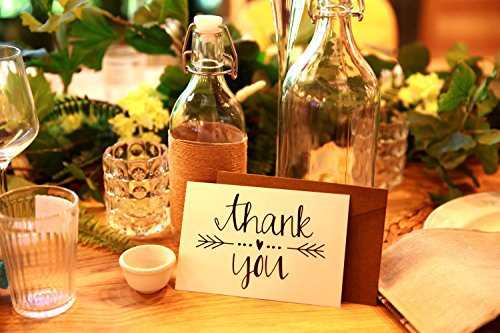 Thank You Note Cards Postcards with Funny Decor Stickers Set - 48 Assorted Bulk Pack Handwritten Greeting Cards - Blank Backside - For Wedding, Baby Shower -Brown Craft Paper Envelopes - 4 x 6 inches Photo #5