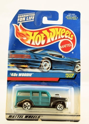 40's Woodie (Teal with 5 Dot Wheels) Hot Wheels Collector #217 on Blue/white - 5 Wheels Dot