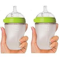 (跨境自营)(包税) Comotomo 可么多么 奶瓶 绿色8 Ounces (250ml) 两只装(美国品牌)