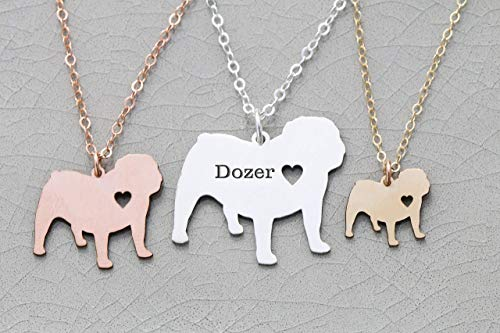 - English Bulldog Necklace - IBD - British Leavitt - Personalize with Name or Date - Choose Chain Length - Pendant Size Options - 935 Sterling Silver 14K Rose Gold Filled - Ships in 1 Business Day