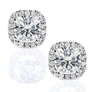 Cushion-cut Moissanite and Diamond Stud Earrings 2 1/2 Carat (ctw) in 14k White Gold