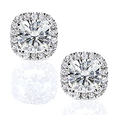 d38c48a4b Amazon.com: Cushion-cut Moissanite and Diamond Stud Earrings 2 1/2 Carat  (ctw) in 14k White Gold: Jewelry